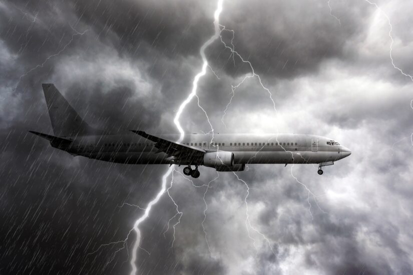 flying airplane under the storm