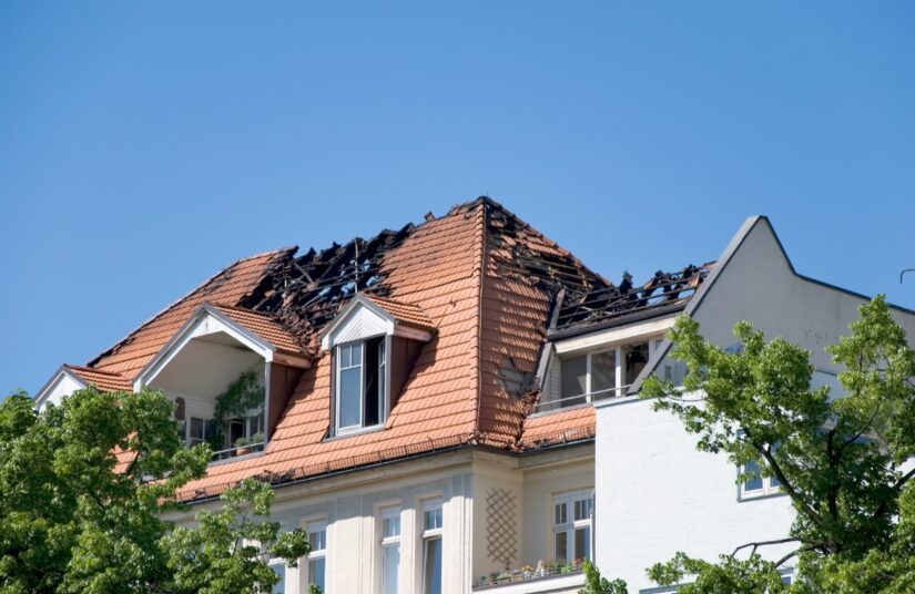 building with a burnt roof
